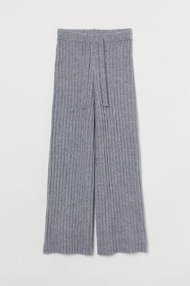 H&M Ribbed Wool-blend Pants - Gray