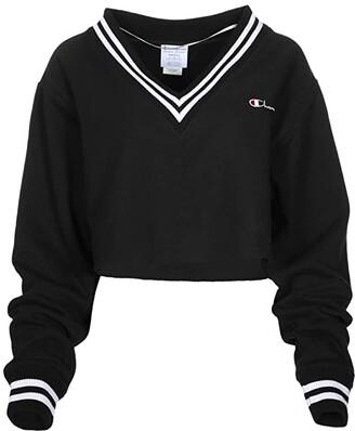 Champion Reverse Weave(r) Yarn-Dye Rib Cut Off V-Neck (Black) Women's Clothing