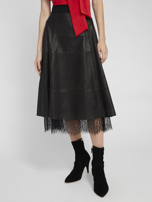 Alice + Olivia Sosie Leather Lace Midi Skirt