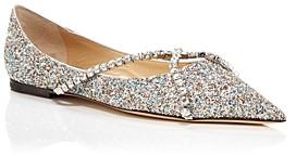 Jimmy Choo Women's Genevi Pointed Toe Crystal Embellished Flats