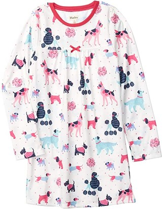 Hatley Colourful Pups Long Sleeve Nightdress (Toddler/Little Kids/Big Kids) (Natural) Girl's Pajama