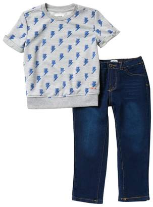 Hudson Jeans Printed French Terry Heathered Top & Jeans Set (Toddler Boys)