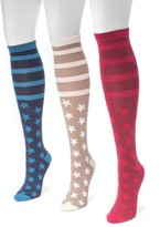 Muk Luks Jacquard Knee High Socks - Pack of 3
