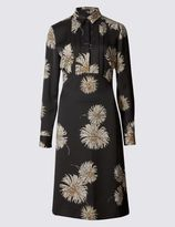 Marks and Spencer Floral Print Pleated Front Shirt Dress