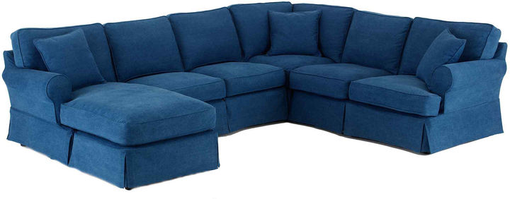 JCPenney FURNITURE PRIVATE BRAND Friday Twill 4-pc. Slipcovered Chaise Sectional