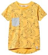 Indikidual Yellow Banana Print Tee with Grey Pocket