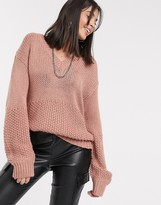 Kaffe balloon sleeve sweater in light pink