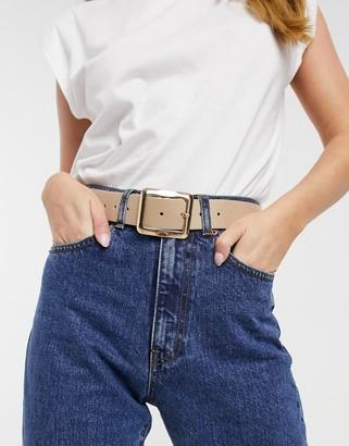 ASOS DESIGN square buckle jeans waist and hip belt in beige
