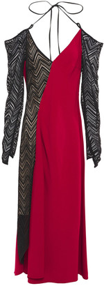 Roland Mouret Clements Cold-shoulder Crochet-paneled Crepe Midi Dress