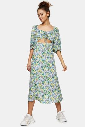 Topshop Womens Blue Floral Print Cut Out Midi Dress - Blue