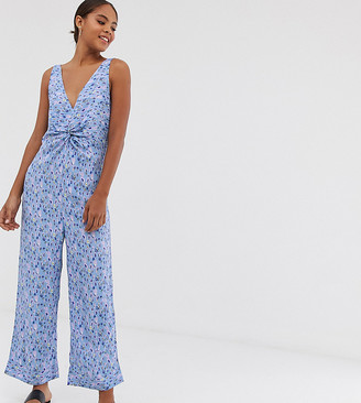 Y.A.S Tall printed v neck culotte jumpsuit-Multi