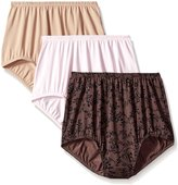 Olga Women's 3 Pack Without A Stitch Brief Panty , Toasted Almond/Pink/Pin Dot, 8/XL