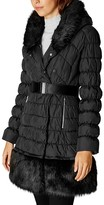 Karen Millen Faux Fur Trim Puffer Coat