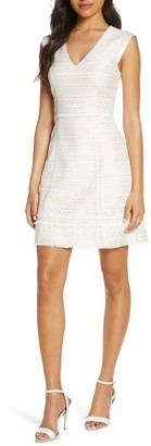 Vince Camuto Lace Overlay Sleeveless Fit & Flare Dress