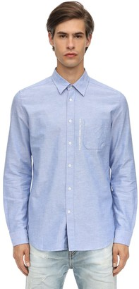 Diesel Cotton Oxford Shirt W/ Distressed Collar