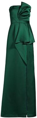 Aidan Mattox Draped Strapless Satin Gown