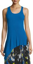 Fuzzi Sleeveless Scoop-Neck Ribbed Asymmetric Top