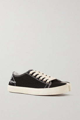 Maison Margiela Split-toe Logo-print Canvas Sneakers - Black