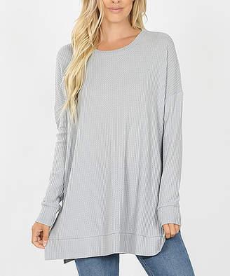 Lydiane Women's Pullover Sweaters LTGREY - Light Gray Crewneck Side-Slit Waffle-Knit Tunic - Women & Plus