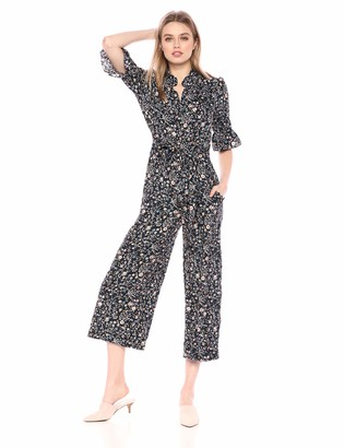 Rebecca Taylor Women's 3/4 Sleeve Print Jumpsuit Navy Combo 2