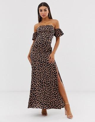 Koco & K off shoulder maxi dress with thigh split in fleck print