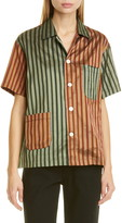 Bode Louie Two-Tone Silk Shirt