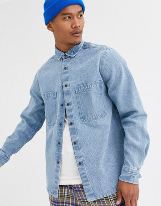 Asos DESIGN denim overshirt with double pockets in midwash