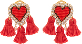 Shourouk Pompon Heart clip-on earrings