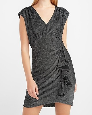 Express Metallic Cap Sleeve Ruched Side Sheath Dress
