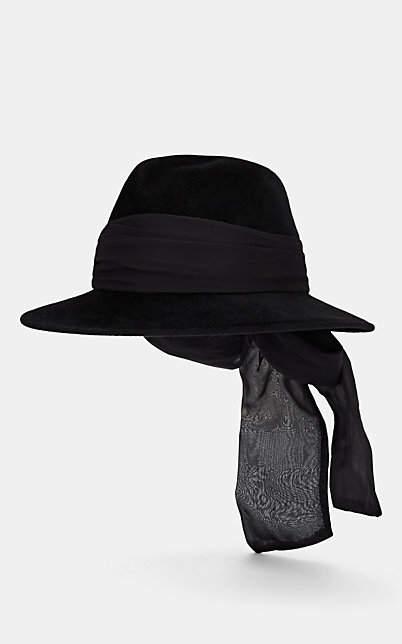 Jennifer Ouellette Women's Silk-Chiffon-Detailed Velour Fedora - Black
