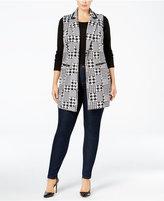 NY Collection Plus Size Jacquard-Knit Houndstooth Vest