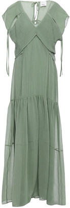 3.1 Phillip Lim Layered Crinkled Cotton And Silk-blend Maxi Dress