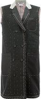 Thom Browne long tack stitch waistcoat - women - Silk/Cupro/Wool - 40