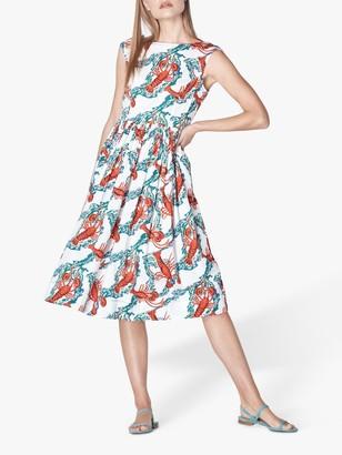 LK Bennett Issie Lobster Print Cotton Sun Dress, White