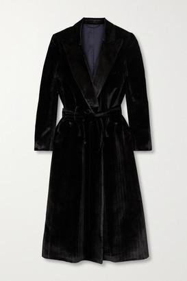 BLAZÉ MILANO Etoile Belted Silk-blend Velvet Midi Dress - Black