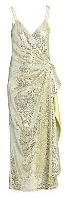 ATTICO Women's Satin Paillettes Wrap Dress