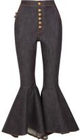 Ellery Hysteria Cropped High-rise Flared Jeans - Dark denim