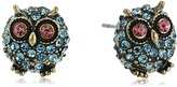 "Betsey Johnson Betsey's Delicates"" Pave Owl Stud Earrings"