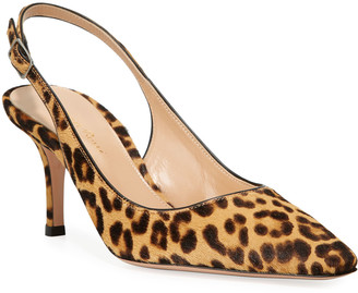 Gianvito Rossi Leopard-Print Calf Hair Slingback Pumps