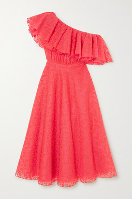 Giambattista Valli Ruffled One-shoulder Embroidered Silk-organza Midi Dress - Coral