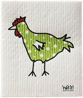 Swedish Treasures Wet-it! Cleaning Cloth, Spotted Green Chicken, Super Absorbent, Reusable, Biodegradable, All-purpose