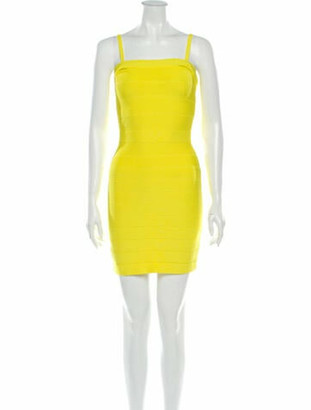 Herve Leger Square Neckline Mini Dress Yellow