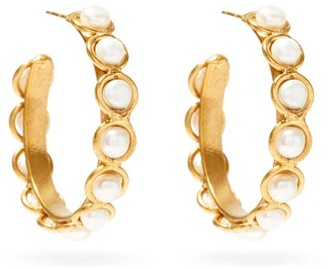 Sylvia Toledano Pearl Hoop Earrings - Gold