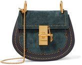 Chloé Drew Mini Studded Suede And Leather Shoulder Bag - Midnight blue