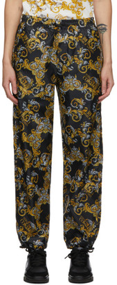 Versace Jeans Couture Black Logo Baroque Pants