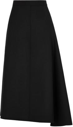 Jil Sander Black wool-blend midi skirt