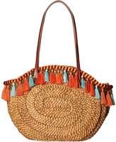 Sam Edelman Rachael Straw Tote w/ Fringe Trim Tote Handbags