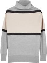 Alpha Grey Striped Wool Jumper