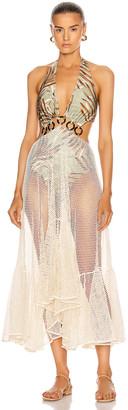 PatBO Palmeira Netted Beach Dress in Sage   FWRD