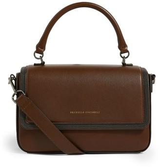 Brunello Cucinelli Leather Embellished Shoulder Bag
